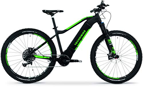 TechniBike VOTARO HT 27,5 Zoll E-Bike (Pedelec, Elektrofahrrad, Hardtail Mountainbike, 600Wh Continental Akku, Continental 36V 250 Watt 90 Nm Motor, Rahmenhöhe 40 cm) schwarz matt/grün