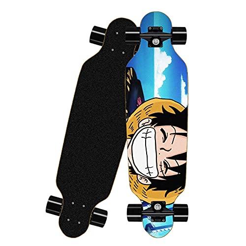 FWAHB Tablero Completo del patineta para una Sola Pieza: Monkey D. Luffy, Siete Capas Skateboard a través de Freestyle Shortboard, monopatín Completo Mini Longboard