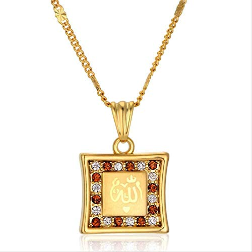 NC198 Collar de Alá musulmán 48Cm Marca Moda Color Dorado Alá Vintage Collar con Colgante para Mujeres y Hombres Joyería islámica