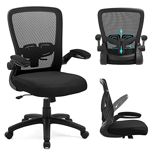 Upgraded Ergonomic Office Chair, Home Office Chair with Adjustable Lumbar Support, Ergonomic Desk Chair with Flip-up Armrests, Mesh Computer Chair with High Resilience Thickened Cushion, Black