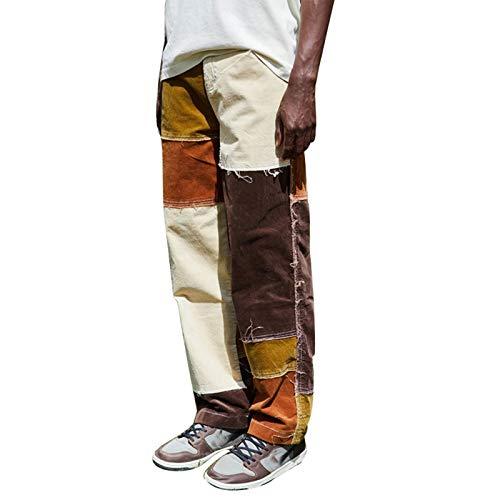 Livingsenburg Jeans Casual da Uomo a Gamba Dritta Pantaloni Jeans vestibilità Rilassata a Blocchi di Colore per Riprese Casual e di Strada (XXL, Giallo)