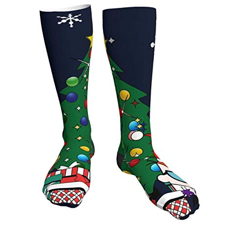 Yuanmeiju Warme dicke Socken Dexters Lab Around The Christmas Tree Soft Comfort Crew Socks Casual Athletic 20in Long The Calf Sock