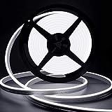 Lamomo Striscia LED bianca, 12 V, dimmerabile, 5 m, impermeabile, 3000 K, in silicone, flessibile, con alimentatore di rete e controller, per interni, esterni, casa, cucina