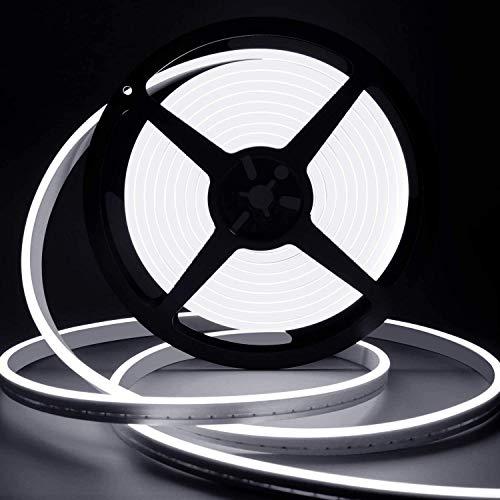 Lamomo LED Strip Weiß, 12V Dimmbar Neon LED Streifen, 5M Wasserdicht 3000K LED Lichtband, Silikon DIY Flexibel Lichtleiste mit Netzteil und Controller für Innen Aussenbereich Heim Küche Deko