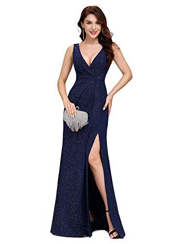 Ever-Pretty Vestido Fiesta Noche Largo Cuello V sin Mangas para Mujer Brillante Imperio Abertura Azul Marino A 38