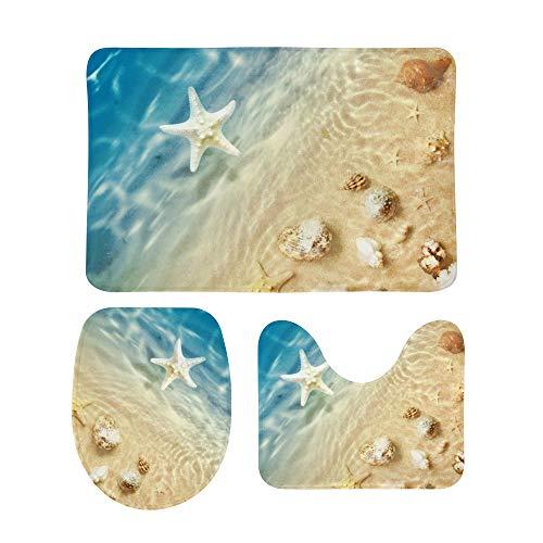 Ensemble de tapis de bain 3 pièces - Motif plage - Étoile de mer et coquillages - Style chic - Tapis de contour pour abattant de WC - Tapis de bain antidérapant pour baignoire et douche