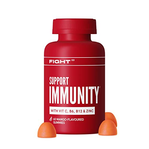 Vitamin D Gummies by FIGHT | Support Immunity | 60 Mango-Flavoured Gummies | Vitamin D, Vitamin C, B12, Zinc + More | Gluten-Free Supplements to Support Your Immune System