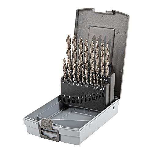 STIER Stufen Spiralbohrer Set Premium DIN 338 HSS-G 1-10mm 19-teilig in Kassette, Metallbohrer, Bohrerset, Stahlbohrer