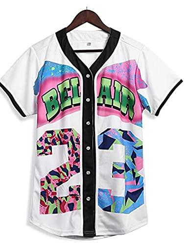Eghunooze Camiseta de béisbol impresa en 3D de manga corta con botones para mujer de verano, casual, manga corta, botones de béisbol