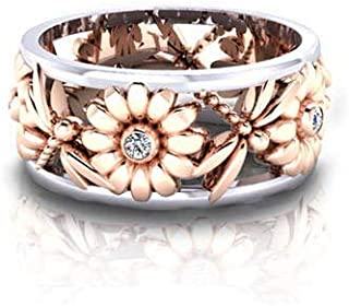 Zhiwen Chic Daisy White Sapphire Silver Rings Women's Elegant Sunflower Dragonfly Hollow Finger Ring Band Jewelry Gift Healthy Size 6-10 (US Code 6)