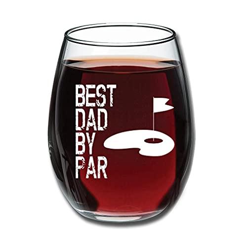 Relaxident Copa de vino – Best Dad By Par Golf Día del Padre Mejorar Copa de Grabado Buen Mano Divertida Decoración Blanca 350ml
