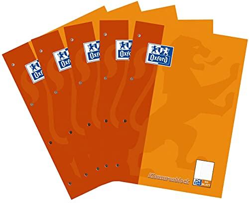 Oxford Schule Klausuren-Block A4, liniert mit Rand, 50 Blatt, orange, 5er Pack