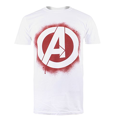 Marvel Herren Stencil Logo T-Shirt, White, L