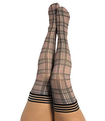 Kix`ies Stockings For Women | Thigh High Stockings with No-Slip Grip Stay Ups Thigh Bands | Womens Thigh High Stockings (Lori Tan/Grey Plaid 1333C)