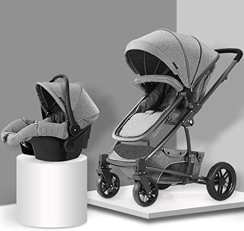 QJY Baby Kinderwagen Nieuw Ontwerp Luxe Kinderwagen Baby Kinderwagen 3 in 1 Opvouwbare Vierwielige Kinderwagen hoog Landschap Kinderwagen Opvouwbaar Aluminium Pushchair Grijs