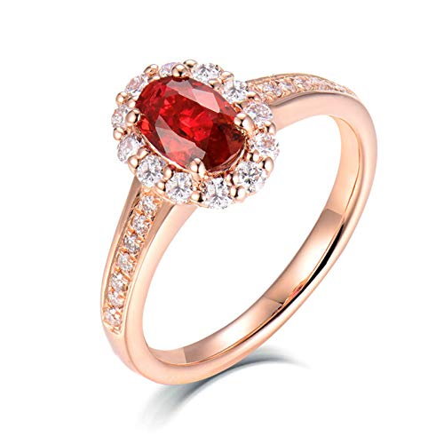 Bishilin Anillos Boda Oro Rosa 750, Rubí Rojo Sangre de Paloma Talla Ovalada de 0,5 CT con Diamante Anillos de Bandas Elegante Anillo de Compromiso de Boda para Cumpleaños Navidad Talla: 27