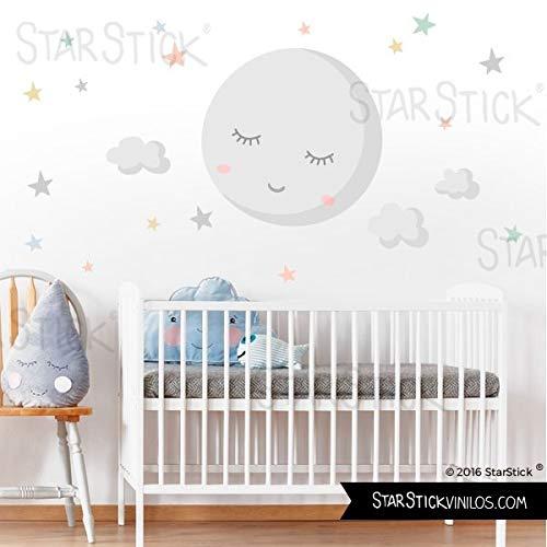 Vinilo para bebé - Luna llena con estrellas. Luna gris y estrellas...