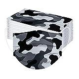 cinnamou 50 Stück Erwachsene Camouflage Mundschutz Einweg Mund und Nasenschutz Tarnung Motiv Bunt Mund Nasenschutz Atmungsaktiv Mund-Tuch Bandana für Männer Frauen