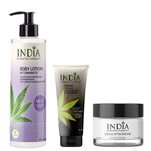 INDIAs BodycareSet mit Bio Cannabis-Öl. Premiumqualität. Bodylotion ohne Parabene, Gesichtscreme, Serum Hautcreme, Hanf-Creme, dezenter Duft