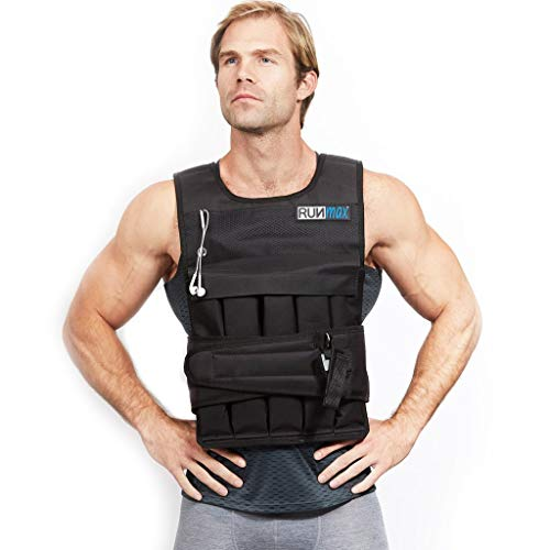 RUNmax Pro Weighted Vest 12lbs/ 20lbs/ 40lbs/ 50lbs/ 60lbs with Shoulder Pads Option