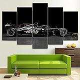 Impresiones Sobre Lienzo Moderno Hd Impreso Pintura Lienzo Decoración Para El Hogar 5 Piezas F1 Black Super Sports Car Poster Wall Art Picture