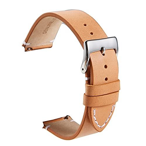 LLKHFA liberación rápida de Cuero de Piel de Becerro Cuero Suave Mate Reloj de Cuero 16 18 20 22 24mm Correas para Relojes Inteligentes (Band Color : Yellow, Band Width : 16mm)