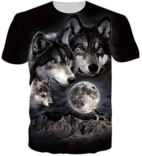 Loveternal 3D T-Shirt Patrón Impresa Lobo Manga Corta Wolf Tops Camisetas para Hombres de Las Mujeres L