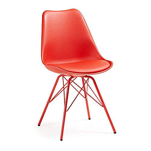 Kave Home - Silla de Comedor Ralf roja de plástico con...