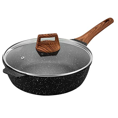 ESLITE LIFE Deep Frying Pan with Lid 11 Inch Nonstick Saute Pan with Granite Coating Induction Compatible, 5Quart