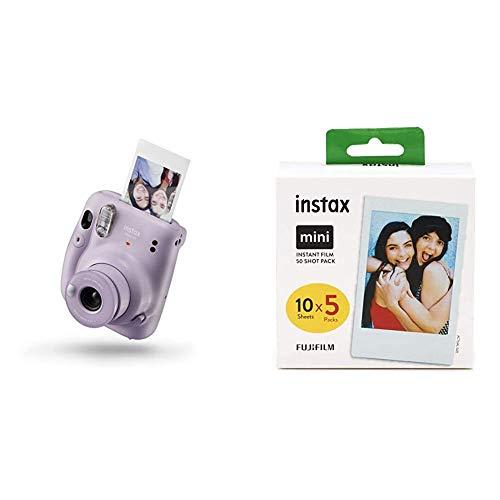 Instax Mini 11 Camera Lilac Purple Fujifilm Instax Mini Instant Film 5X 10 Blatt 50 Blatt Weis