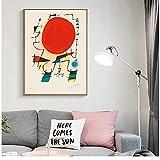 bdkym Modernos Carteles E Impresiones De Arte Surrealista De Joan Miro, Cuadros De Pintura En Lienzo En La Pared, Póster Decorativo Abstracto para Decoración del Hogar, 50X70Cmx1 Sin Marco