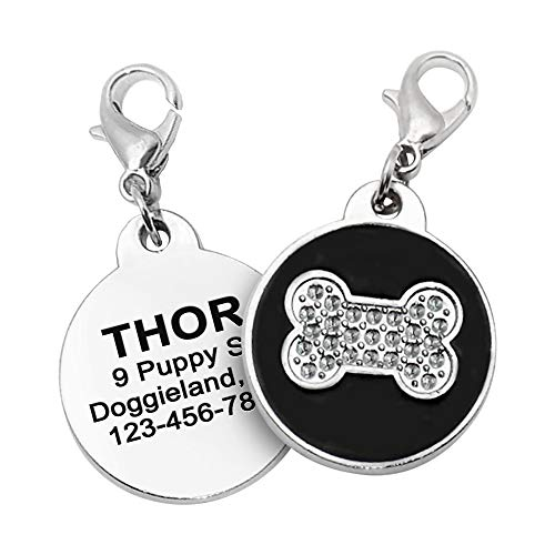 Bone Dog Tag ID, Shiny Engraved Custom tag for Puppies, Personalized Cute Bone Shape Lost pet tag for Collars