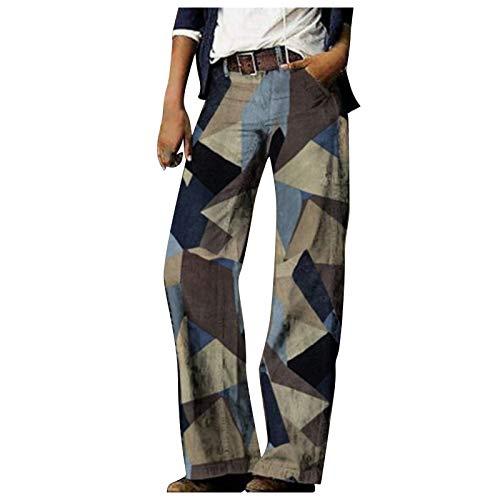 BIBOKAOKE Pantalones vaqueros Baggy de los años 70, estilo vintage, rectos, estilo retro, informales, cómodos con pierna recta, sueltos, ropa de calle Palazzo, Mujer, beige, medium