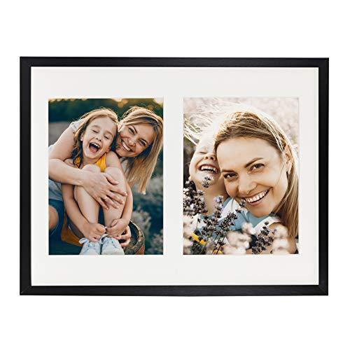 BD ART 28 x 35 cm Mehrfach Bilderrahmen, Bildergalerie, Fotogalerie mit Passepartout und 2 Foto-Ausschnitten für Fotos 15 x 20 cm, Schwarz