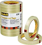 Scotch 550 - Cinta adhesiva, 12mm x 66m, transparente - Pack de 12 rollos