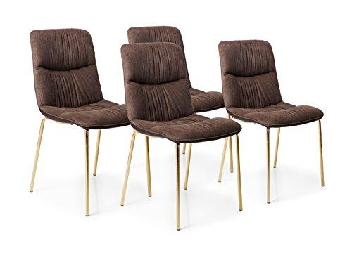 Kare Design Silla Vegas Forever Juego de 4, Edler Retro Silla de Comedor, tapizado Silla con Tela de poliéster Aterciopelada, marrón de Oro (H/B/T) 82x 46x 55cm