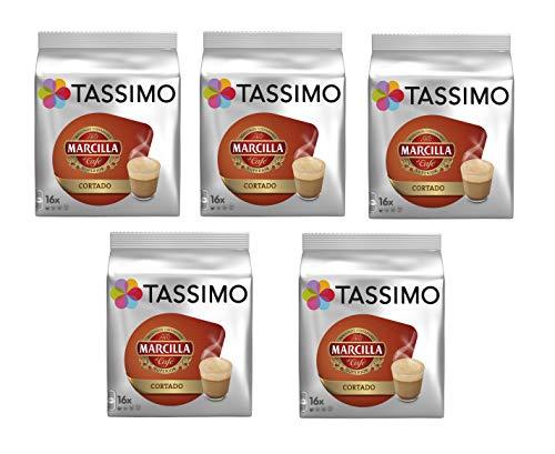 TASSIMO Marcilla Café Cortado - 5 paquetes de 16 cápsulas: Total 80 unidades