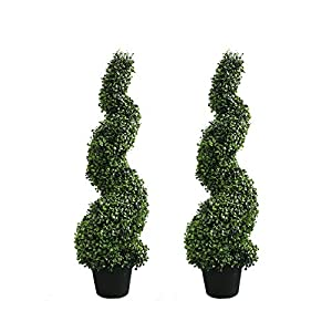 Armada Topiary Trees Artificial Faux Fakes Spiral Plant Green Cedar Tree Boxwood Topirary Plants Indoor Outdoor Decor with Plastic Pot Set of 2 (35 Inch)