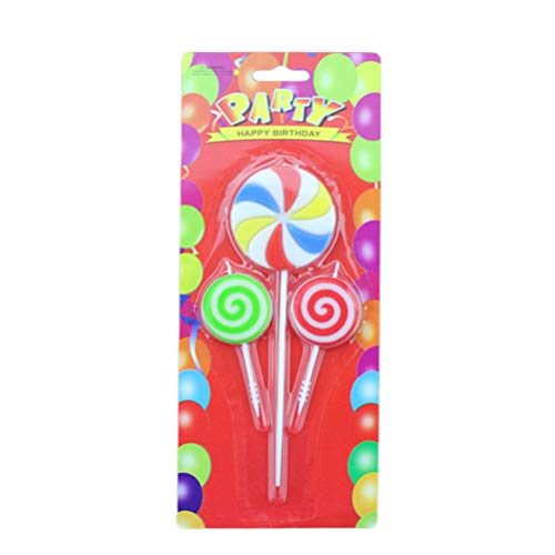 Amosfun Birthday party candles, lollipop candles, 6 pieces for party baby party, wedding party, cake supplies.