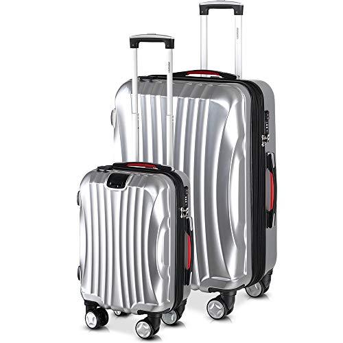 Monzana monzana® 2er Set Koffer Boardcase M, XL Gelgriffe TSA USB Reisekoffer Trolley Kofferset Handgepäck