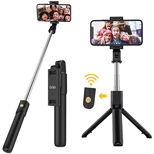 Gritin Palo Selfie Trípode, 3 en 1 Selfie Stick Móvil Bluetooth con Inalámbrico Control Remoto, Monópode Extensible para iPhone 11 Pro Max / 11 Pro / XS Max / XR / 8, Galaxy S10 / S9 , Huawei, Xiaomi