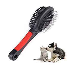 Double Sided Pet Grooming Brush – 2Sizes Soft Brush Puppy Comb Hair Shedding Removal Cleaning Brush for Dogs and Cats With Short Medium Long Hair