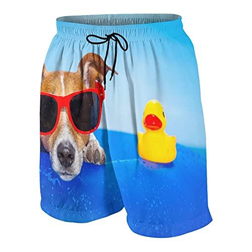 De Los Hombres Casual Pantalones Cortos,Perro Jack Russell en un colchón en el Agua del océano en la Playa de Verano con Gafas de Sol Rojas,Traje de Baño Playa Ropa de Deporte con Forro de Malla