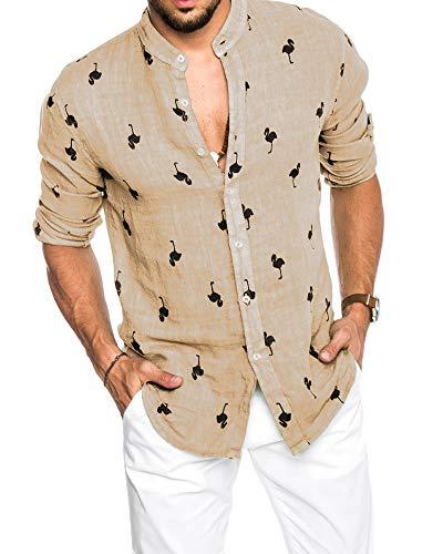 Pxmoda Herren Langarm Hawaiihemd mit Flamingo Stoffdruck Roll up Leinenhemd,  XL Beige