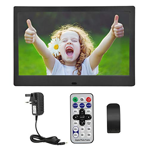 Akozon Digital Photo Frame 10 inch 1024 * 600 HD Digital Photo Frame Screen Multiple Languages Screens Ratio 16:9 with Remote control(white)