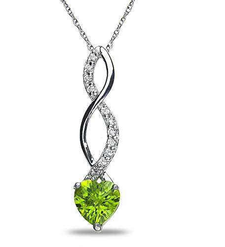 The Diamond Deal Simulated Green Green Peridot Gemstone August Birthstone Heart and Diamond Accent Pendant Necklace Charm in 10k SOLID White Gold