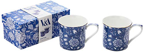 Set of 2 V&A William Morris Wild Tulip Fine Bone China Mugs (Becher)