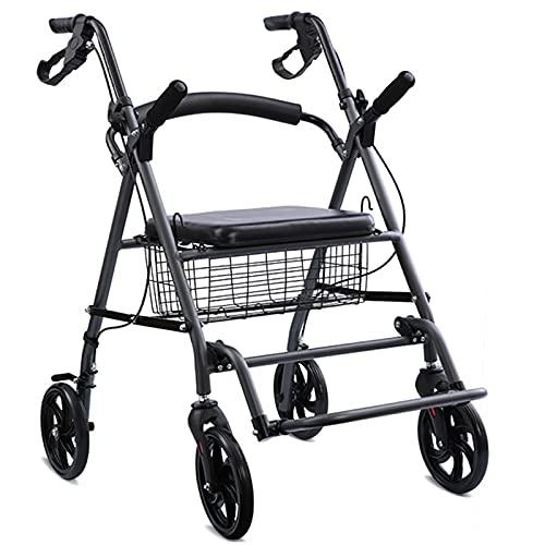 ZAQI Rollator Gehhilfen Wide Walker für Parkinson, Falten Groß Verstellbare Höhe Rollator Walker, für große Männer Erwachsene Senioren, mit Sitz, Korb, Unterstützung 220lbs