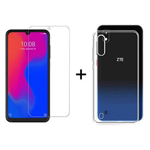 TBOC Pack: Transparent Gel TPU Hülle + Hartglas Schutzfolie für ZTE Blade A7 - ZTE Blade A7 2019 [6.09