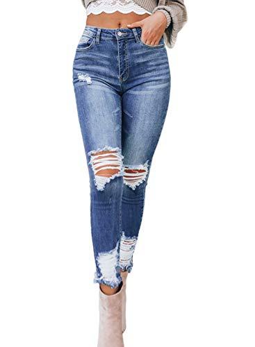 CORAFRITZ - Jeans da donna a vita alta, elasticizzati, strappati al ginocchio, in denim effetto invecchiato, con zip Blu XL